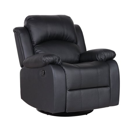 - Bonded Leather Rocker and Swivel Recliner Living Room Chair (Black)