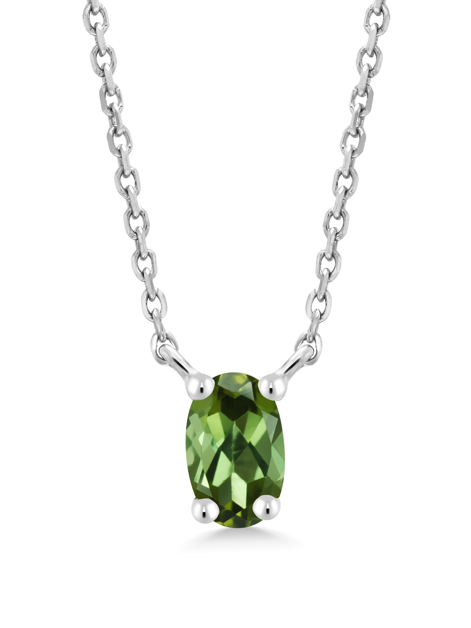 Oval Green Tourmaline 10K White Gold Necklace by