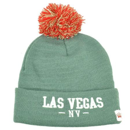 Las Vegas Pom Pom Cuffed Knit Beanie Sin City of Lights Nevada State Gray Hat - Nevada City Halloween
