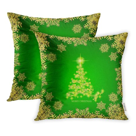 BSDHOME Abstract Christmas Tree Snowflakes in Green Gold Colors Pillowcase Cushion Cover 16x16 inch, Set of 2 - image 1 of 1