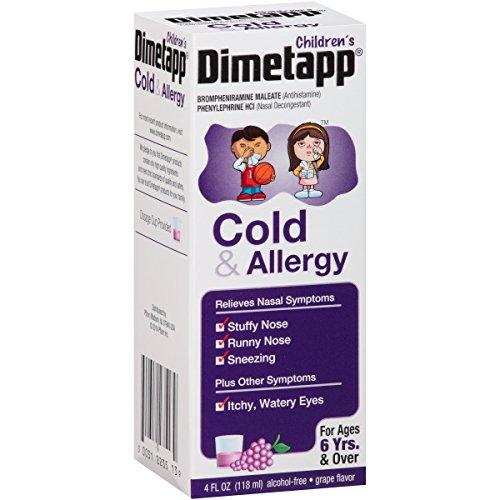 4 Pack Dimetapp Children's Cold & Allergy Cold Grape Flavor 4 Oz Each