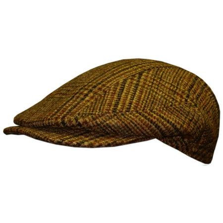 Tweed Golf Cap, Traditional Style Golfing Hat, Irish Golf Fashion, Brown, Large