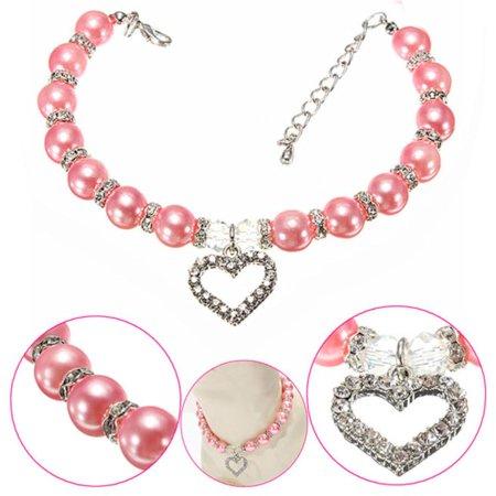 New Diamante Heart Rhinestone Pendant Pearl Necklace Collar Pet Jewelry PK/L