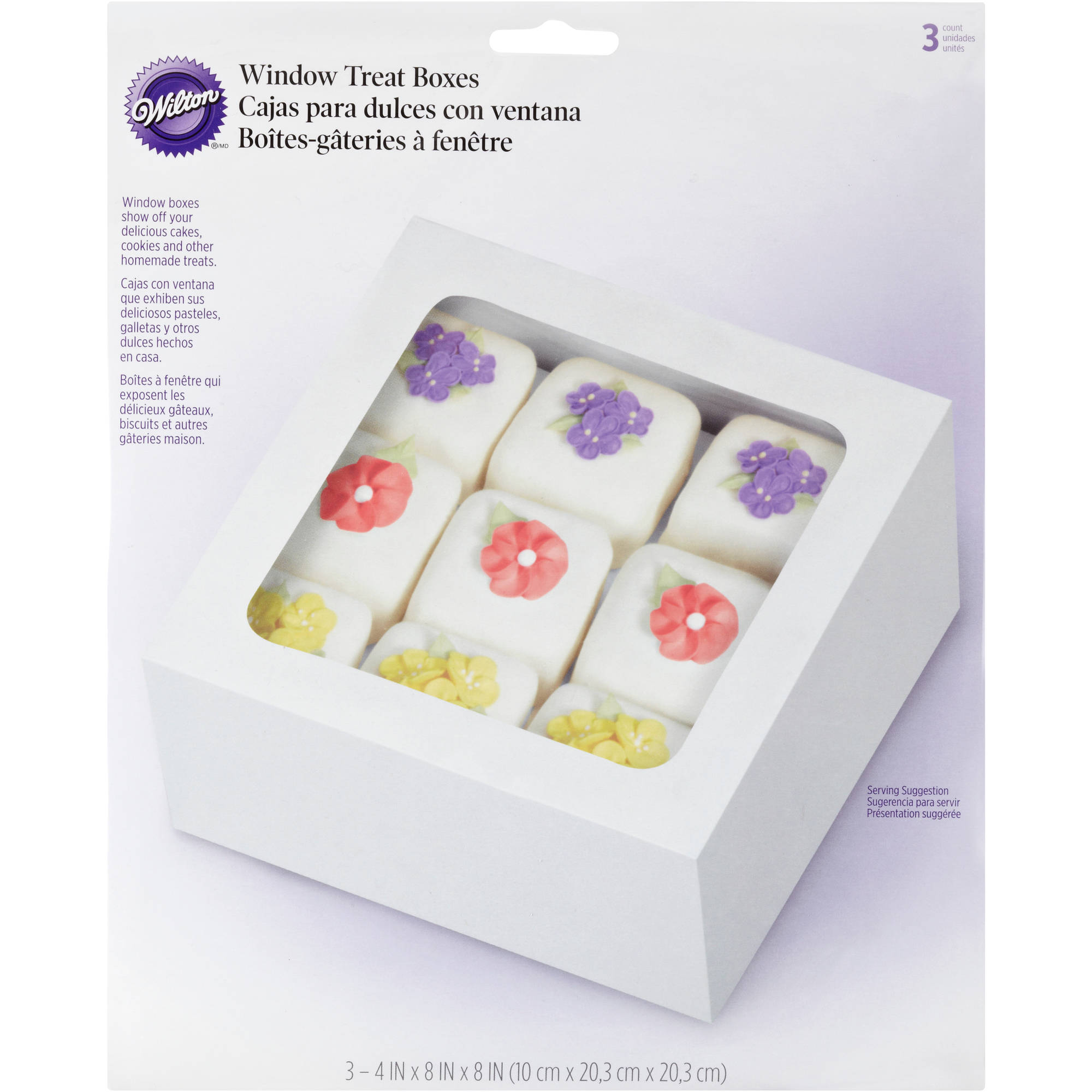 "Wilton 8"" Square Treat Box, White 3 ct. 415-9490"