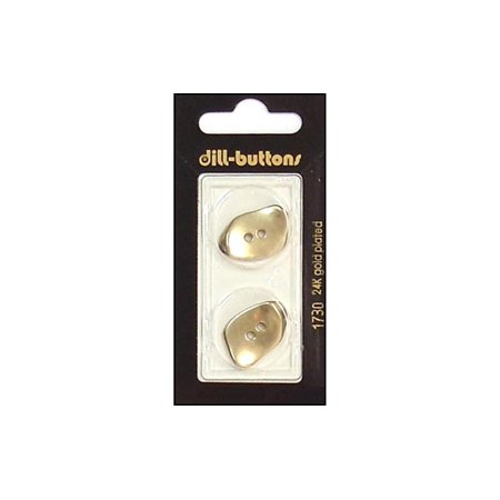 Dill Buttons 23mm 2pc 2 Hole Matte Gold