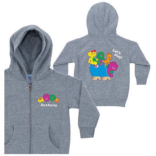 Personalized Barney Lets Play Gray Toddler Zip-Up Hoodie