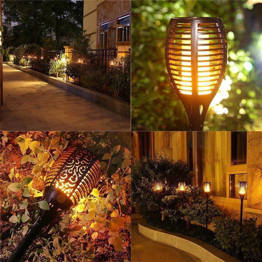 1-8 Pack Solar Power Torch Light LED Fire Flickering Dancing Garden Flame Lights