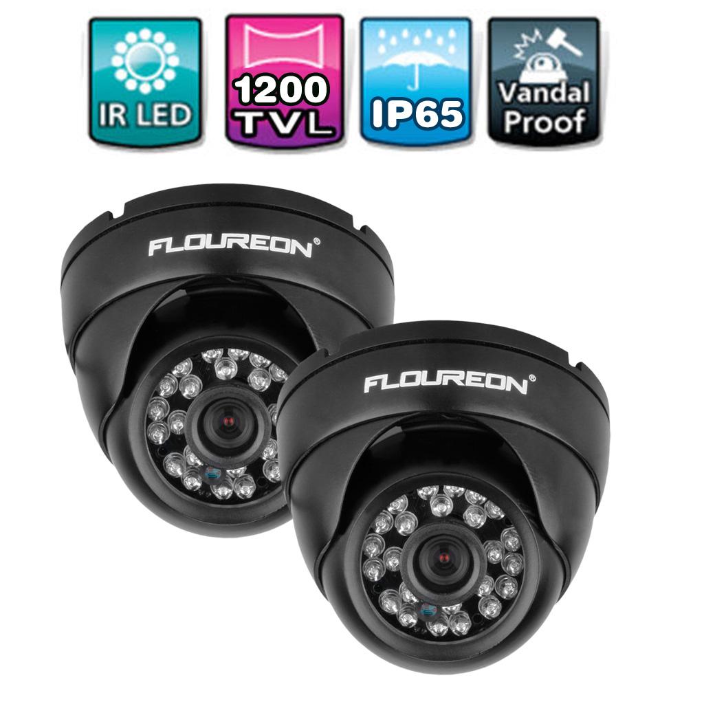 2PCS FLOUREON 1200TVL NTSC Vandalproof CCTV DVR Security Dome Camera Night Vision