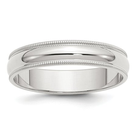 Sterling Silver 5mm Half Round Milgrain Band Ring - Ring Size: 4 to