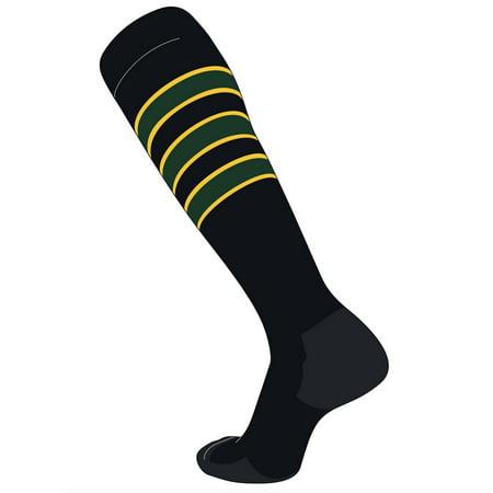 TCK Elite Baseball Football Knee High Striped Socks (D) Black, Gold, Dk Green