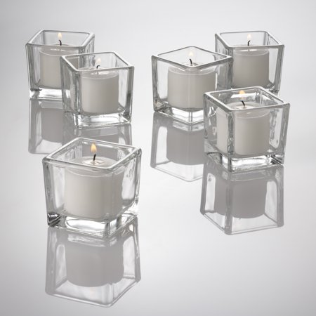 Richland Votive Candles & Eastland Clear Square Votive Holders White Unscented Set of 12 Green Square Candle