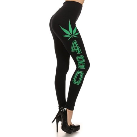 "Extra Soft Capri Leggings with High Wast, ""Marijuana Leaf & 420"", Black / Green"