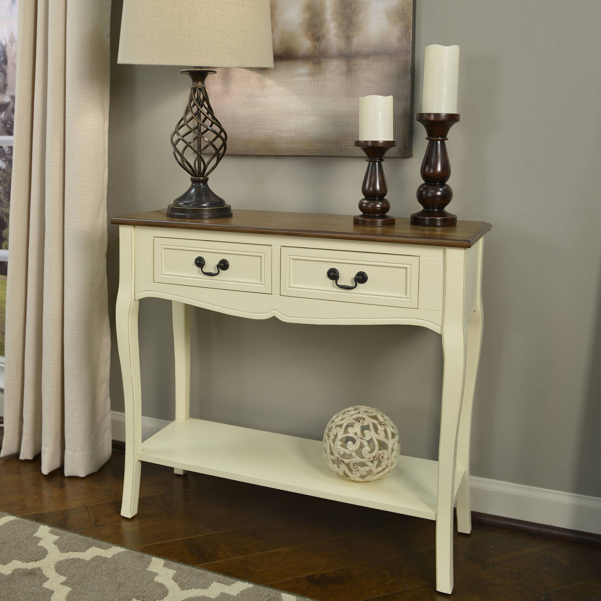 Better Homes And Gardens Two Tone 2 Drawer Console Table, Multiple Colors