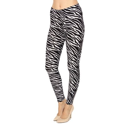 VIV Collection PLUS SIZE Printed Brushed Leggings (Zebra Animal - Black And Blue Striped Leggings
