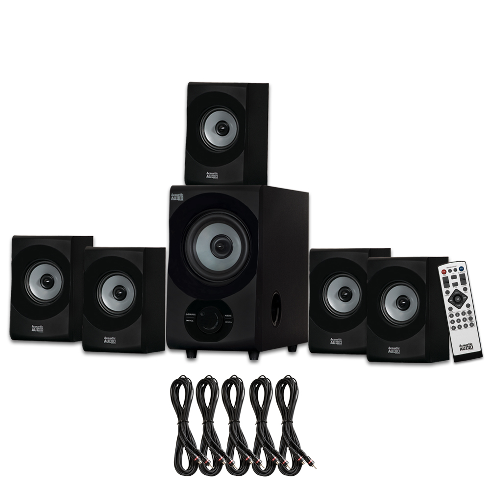 Acoustic Audio AA5172 Home Theater 5.1 Bluetooth Speaker System with FM and 5 Extension Cables