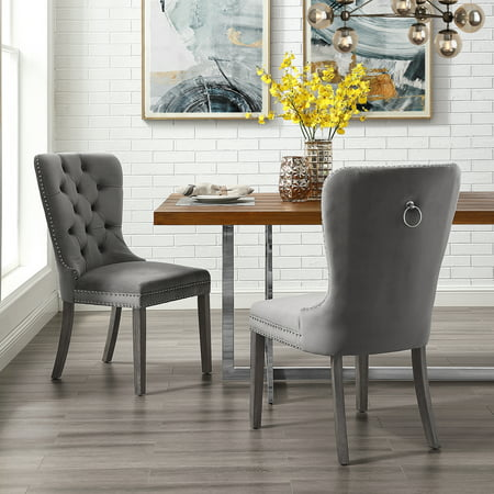 Astonishing Ivy Grey Velvet Dining Chair Set Of 2 Tufted Ring Handle Chrome Nailhead Finish Pabps2019 Chair Design Images Pabps2019Com