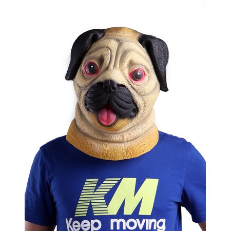 HDE Pug Dog Latex Rubber Novelty Halloween Animal Costume Party Mask - Funny And Creepy