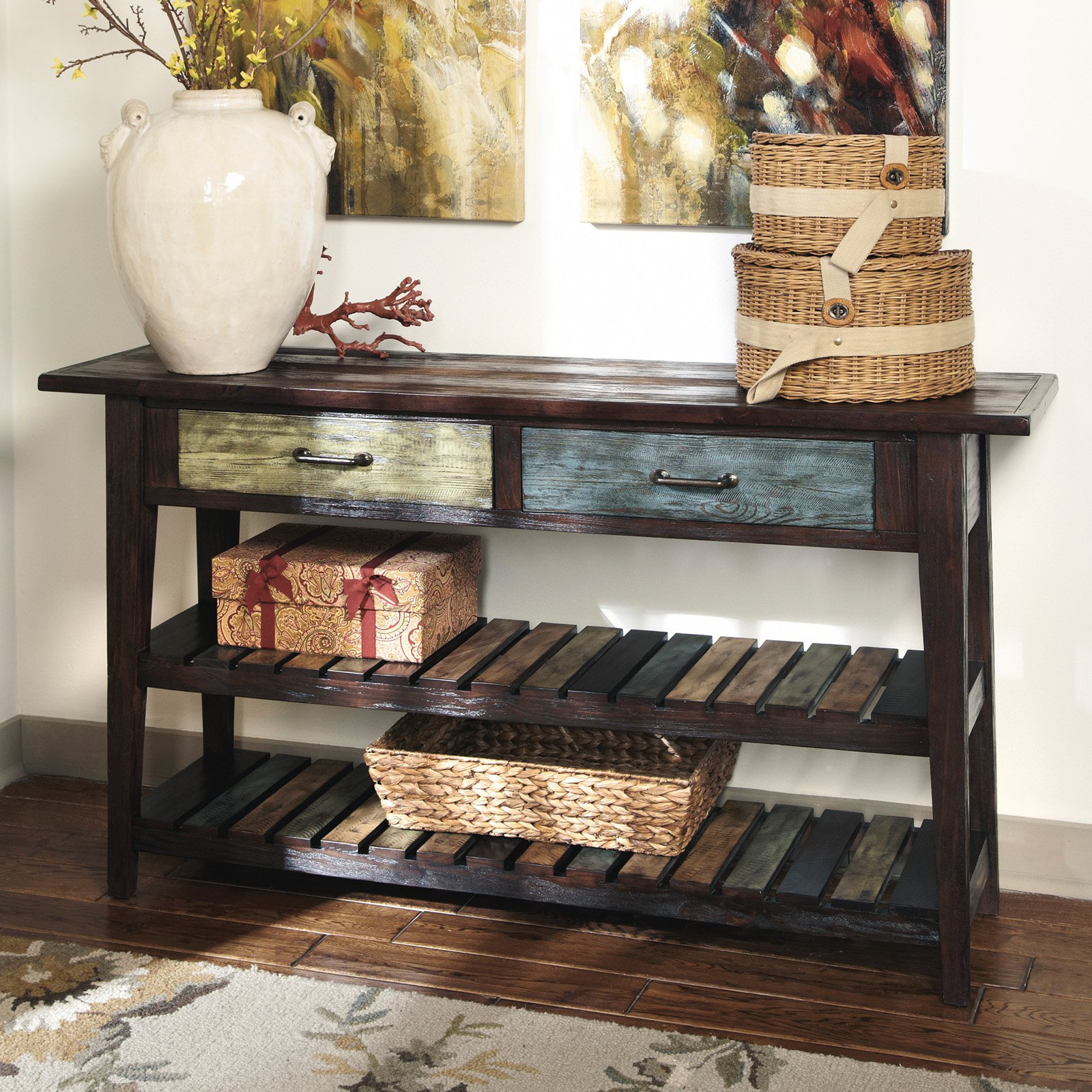Signature Design By Ashley Mestler Rectangular Brown Sofa Table