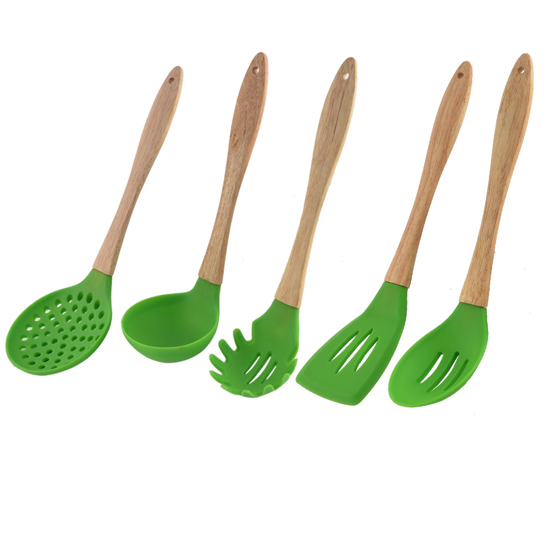 Unique Bargains Wooden Handle Silicone Head Ladle Pancake Turner Kitchen Tool Set 5 in 1