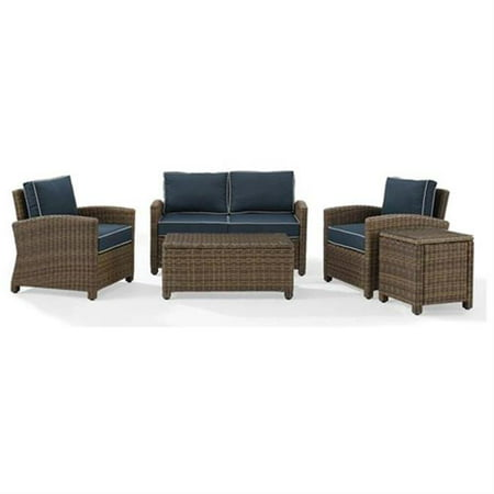 Crosley Furniture Bradenton 5-Piece Outdoor Wicker Conversation Set with Navy Cushions - Loveseat, Two Arm Chairs, Side Table & Glass Top Table Wicker Two Seat