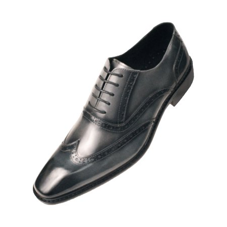 Asher Green Mens Genuine Leather Burnished Oxford Wingtip Dress Shoe, Lace-up