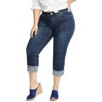 Just My Size Women's Plus Size Frayed Cuff Capri Jeans