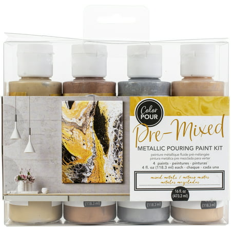 American Crafts Color Pour Pre-Mixed Paint Kit 4/Pkg-Mixed Metal Metallic