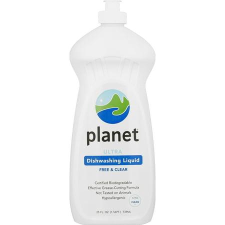 Planet Ultra Dishwashing Liquid, Free & Clear, Certified Biodegradable, 25 oz.