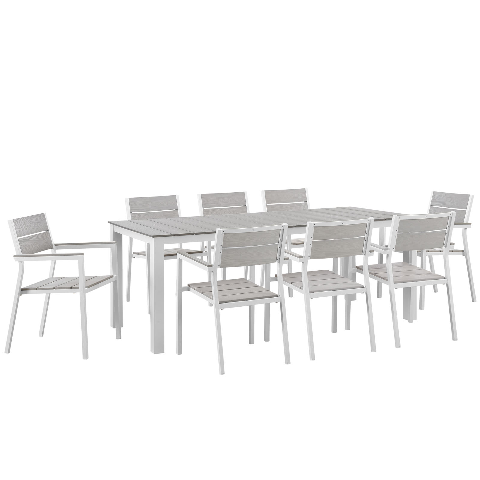 Modern Urban Contemporary 9 pcs Outdoor Patio Dining Room Set, White Light Grey Steel by America Luxury