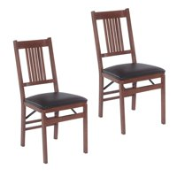 Stakmore True Mission Folding Chair, Set of 2, Fruitwood with Black Vinyl Seat