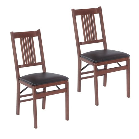 Stakmore True Mission Folding Chair, Set of 2, Fruitwood with Black Vinyl