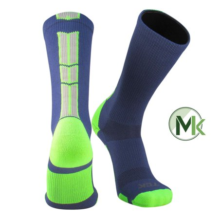 TCK Baseline 3.0 Elite Navy Neon Green Grey Basketball Football Crew Socks - Long Neon Socks