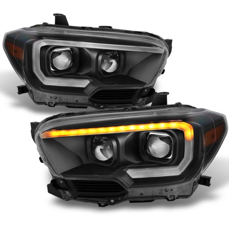 Black 2016 2017 Toyota Tacoma Sr Sr5 Sequential Led Square Projector Headlights
