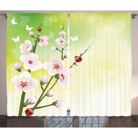 Floral Curtains 2 Panels Set, Blooming Flowers in the Field and Ladybugs Japanese Leaf Petals Nature Graphic, Living Room Bedroom Decor, Green Pink, by Ambesonne (Bug Room Decor)