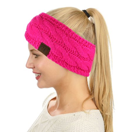 C.C Soft Stretch Winter Warm Cable Knit Fuzzy Lined Ear Warmer Headband, Neon Hot