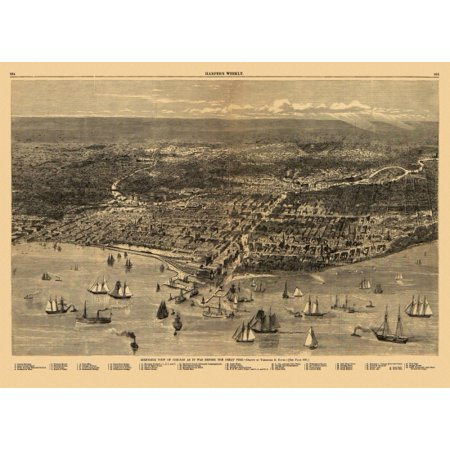 Antique Map of Chicago Illinois 1871 Cook County Canvas Art - (18 x ...