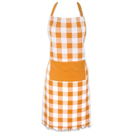 "Design Imports Pumpkin Spice Heavyweight Check Fringed Chef Kitchen Apron, 32""x28"", 100% Cotton, Orange"