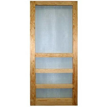 Wood Products 244086 3 Bar Heavy Duty Wood Screen Door - 3 ft. x 6 ft. 8 in. - Green Wooden Door