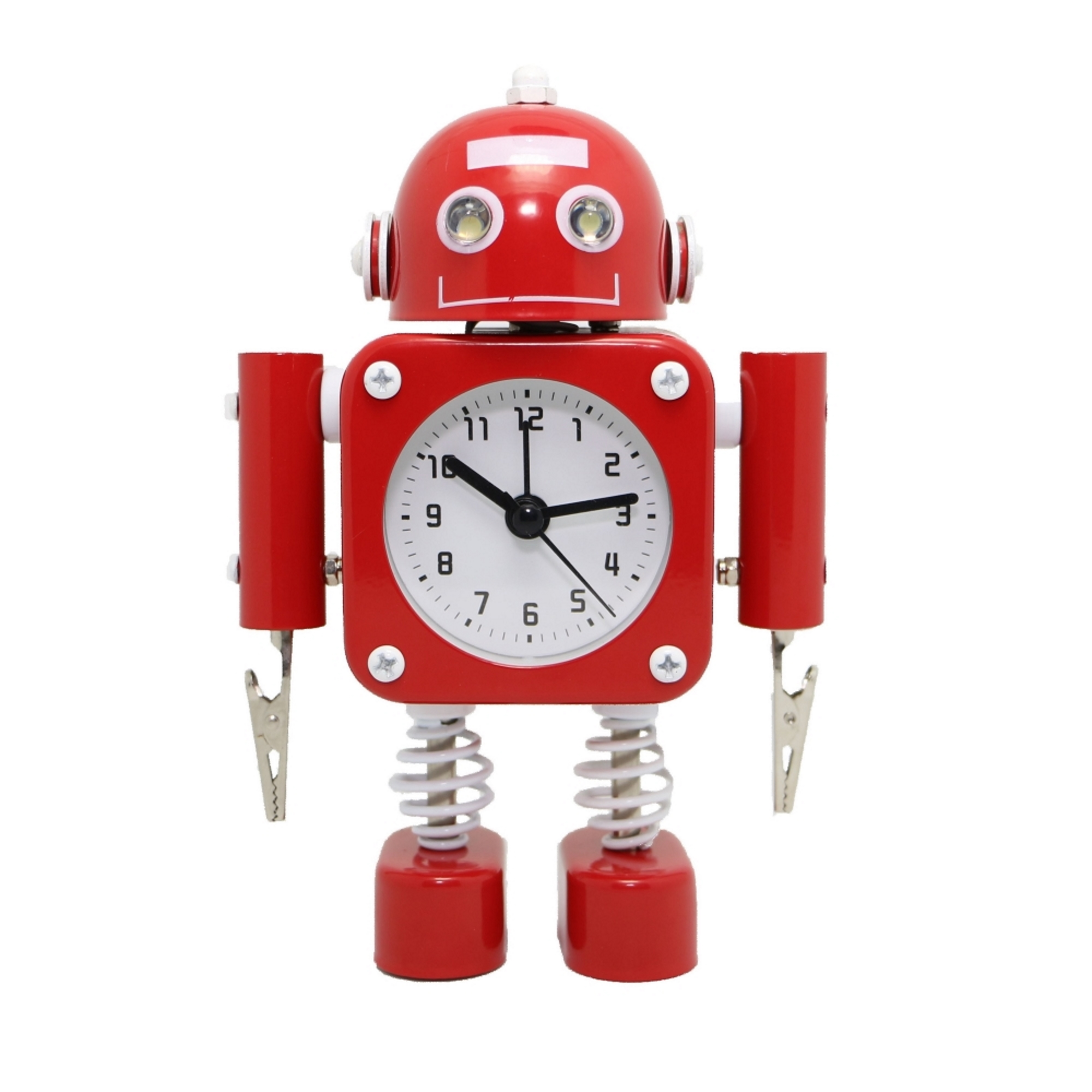 Betus [Non-ticking] Robot Alarm Clock with Flashing Eye Lights and Hand Clip