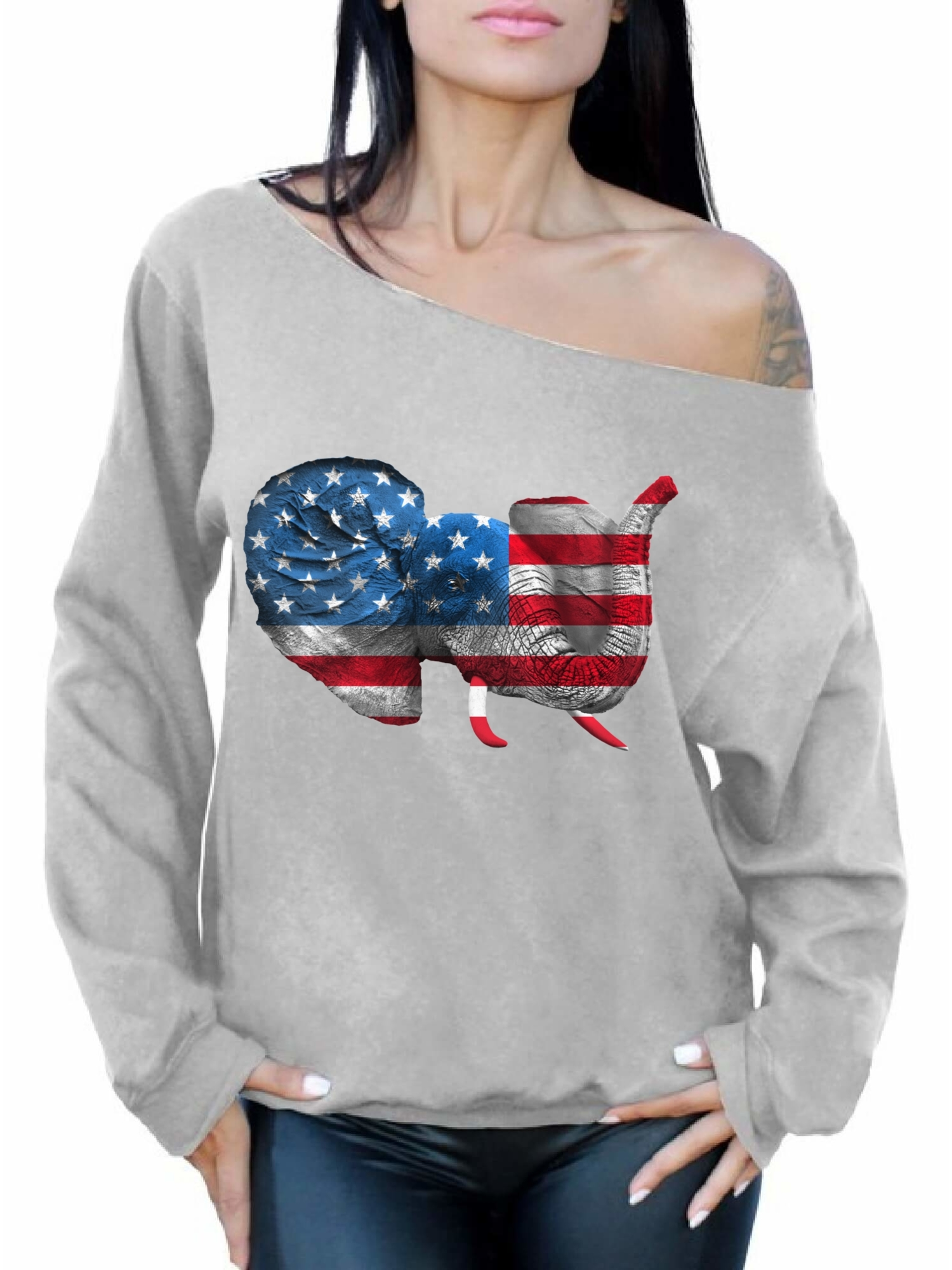 USA Flag Off the Shoulder Shirt for Women Off Shoulder Oversized Sweatshirt American Flag Patriotic 4th of July Gift Stars and Stripes