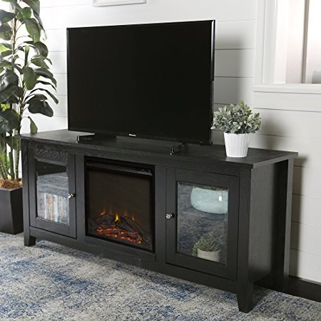 new 58 inch wide black fireplace television stand with glass doors ()
