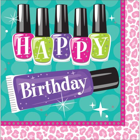 Sparkle Spa Party Birthday Napkins, 16pk