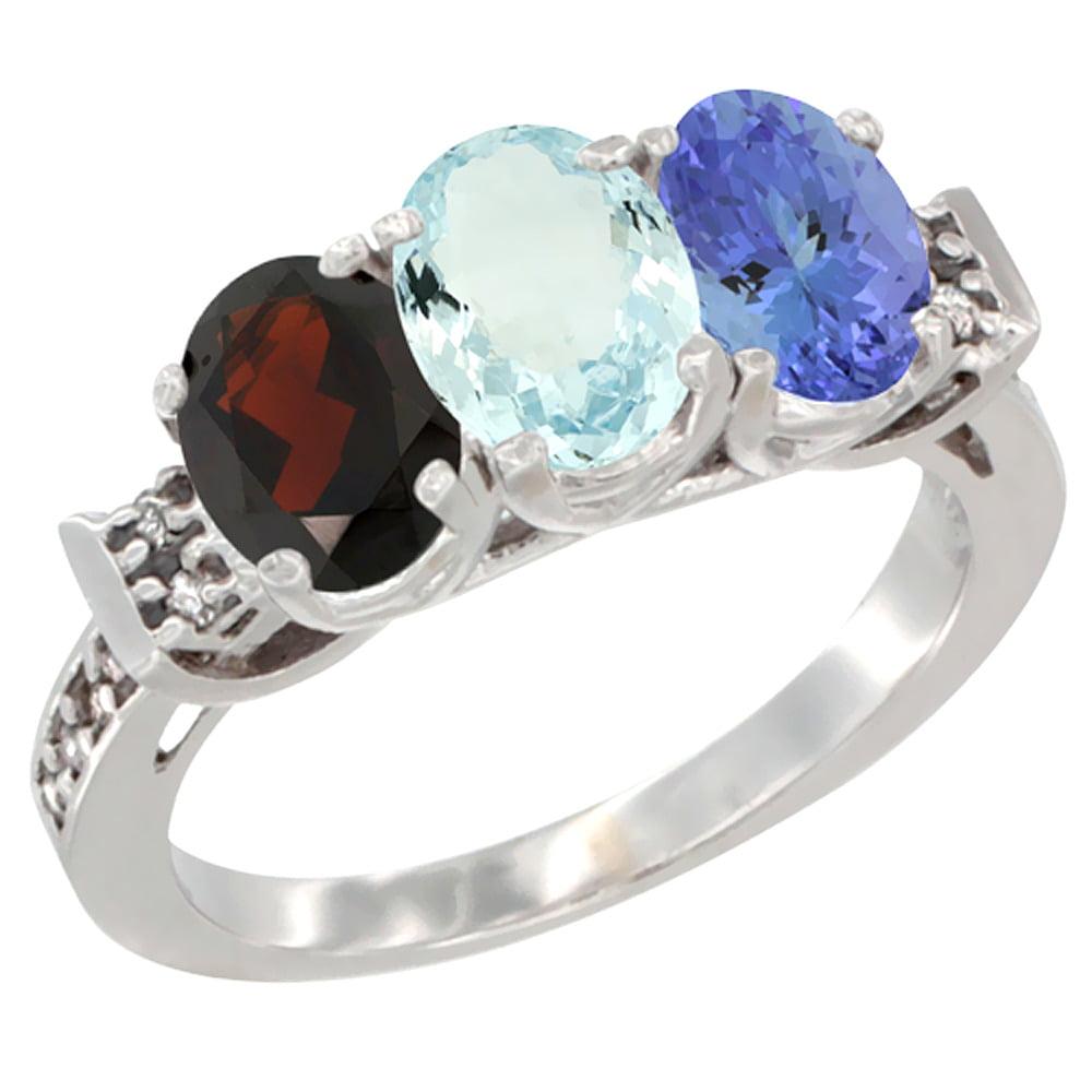 14K White Gold Natural Garnet, Aquamarine & Tanzanite Ring 3-Stone 7x5 mm Oval Diamond Accent, sizes 5 10 by WorldJewels