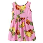 Everpert 5-6T Girls Sleeveless Dress Summer Cute Pineapple Gift Cotton Clothes(Pink)-214218.05