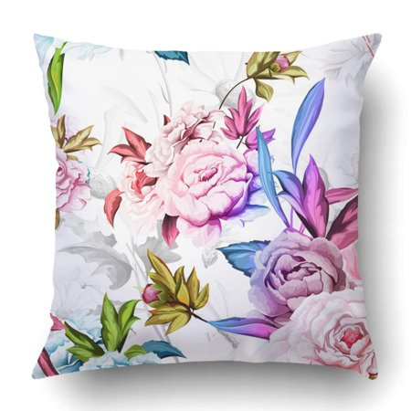 WOPOP Green Pattern Of Peony On White With Cornflowers And Chamomiles Watercolor Pink Pillowcase Cover Cushion 18x18 inch ()