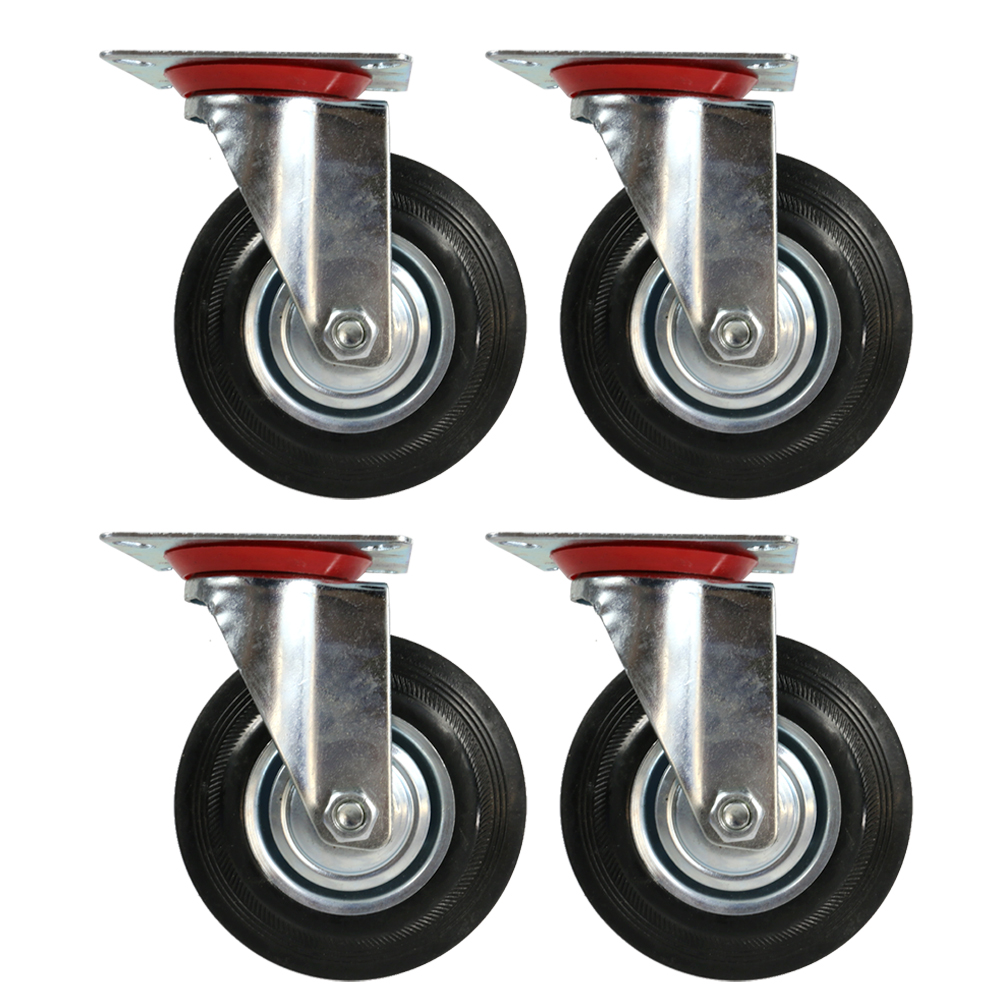 "The Elixir Industrial 5"" Heavy Duty Swivel Caster Wheels Rubber Base with Top Plate & Bearing, Set of 4"