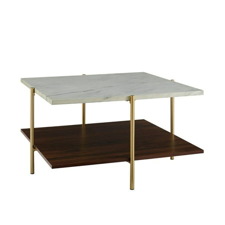 32 Inch Square Coffee Table In Faux Marble And Gold