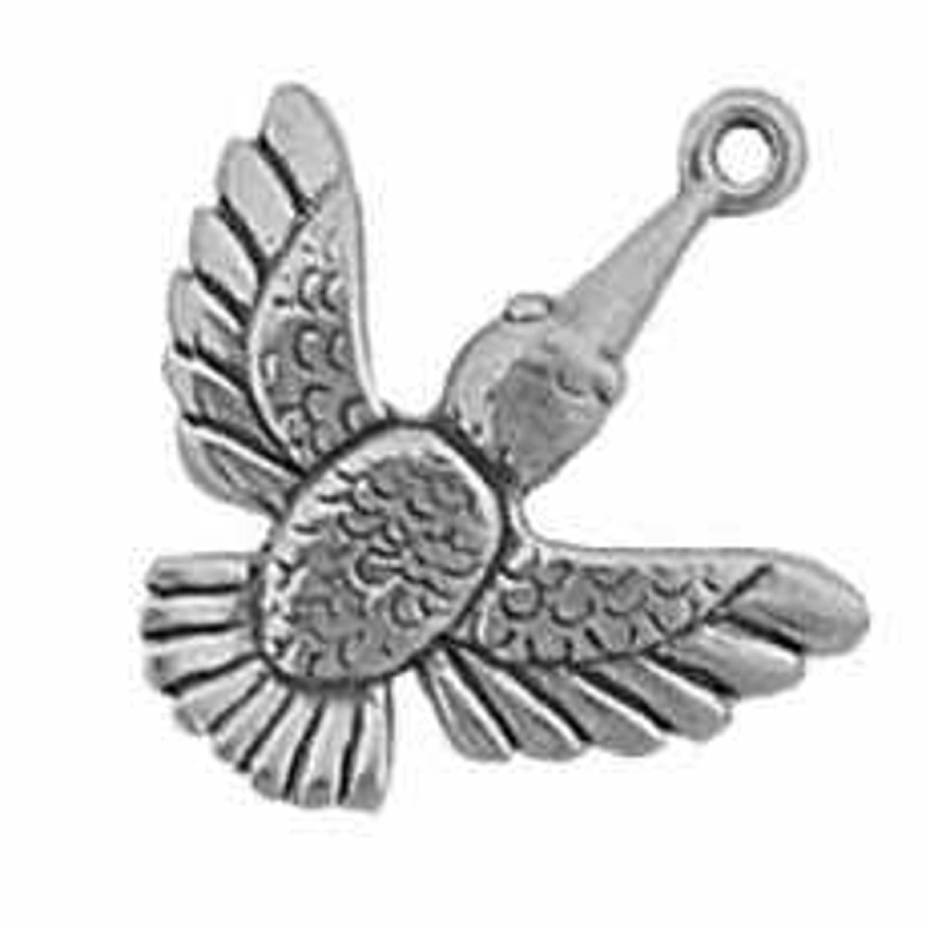 Sterling Silver 7 4.5mm Charm Bracelet With Attached Dove Flying Downward Charm
