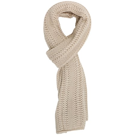 Simplicity Men / Women Solid Color Cable Stripe Knit Winter Fall Scarf, Beige (Black And Gray Striped Scarf)