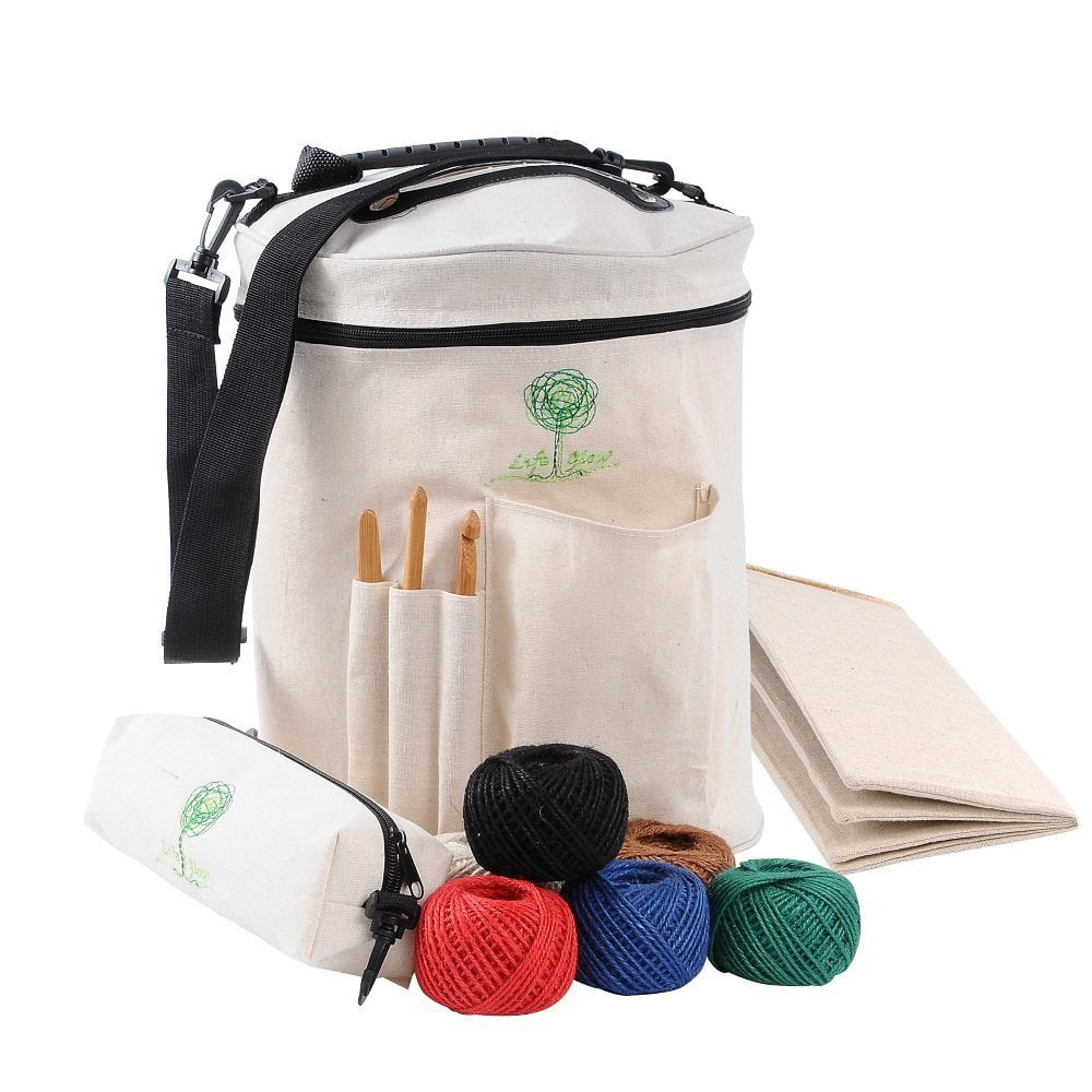 Life Glow Durable Flax Portable Knitting Bag Yarn Storage Tote Organizer With Inner Divider S On Top To Prevent Tangling For Carrying Skeins